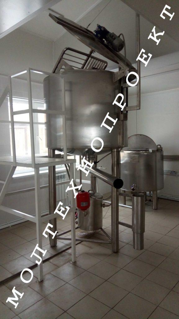 Резервуар для варки сыра с лирной мешалкой